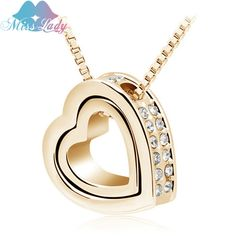 Miss Lady Valentine's Day Gold Plated Austrian Crystal design  female Heart pendant necklace Fashion Jewelry for women MLY2891