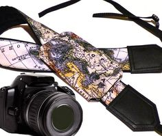 DSLR & SLR Camera Strap with pocket. World Map Camera Strap. Europe. Asia. America. Camera accessories. Photographer gift by InTePro