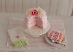 Miniature Pink Coconut Cake 1/12 Scale by Anna Kerley