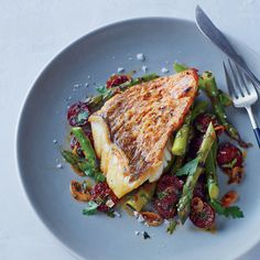Red Snapper With Asparagus And Chorizo Recipe - Tim Byres | Food&Wine