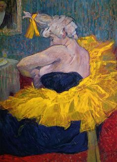 'The Clowness Cha-U-Kao Fastening Her Bodice' (1895) by French painter& printmaker  Henri de Toulouse-Lautrec (1864-1901). Oil on cardboard. collection: Musée d'Orsay, Paris. via the athenaeum