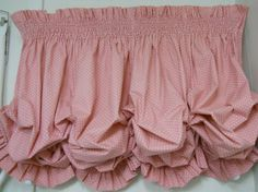 Pink Smocked and Ruffled Lined Cotton Balloon Valance Vintage 1980's on Etsy, $39.95