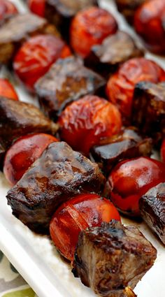 Balsamic Steak Skewers ~ Tender Steak Marinated in a Tangy Balsamic Vinaigrette and Grilled to Perfection! Easy dinner if you add some sides! Summer Grilling Recipes, Barbecue Recipes, Meat Recipes, Cooking Recipes, Healthy Recipes, Skewer Recipes, Barbecue Sauce, Party Recipes, Recipes Dinner