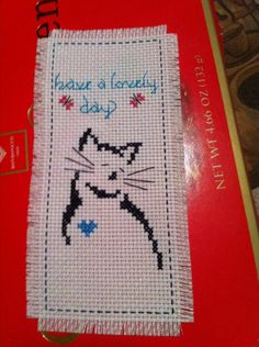 Handmade New Finished Cross Stitch Bookmark in Lolishop's Garage Sale in New York , NY for $7.79. New 100% handmade finished cross stitch bookmark 'Have a lovely day cat''