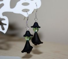 Halloween Witch Earrings Wicked Witch Swarovski Crystal Sterling Silver Ear Wires Seasonal October Black Green Peridot on Etsy, $25.00
