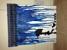 """16"""" x 20"""" melted crayon art - blue crayons for rain, silhouette drawn in sharpie, clear rhinestones added for raindrop effect"""