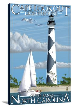 Outer Banks, North Carolina - Cape Lookout Lighthouse - Lantern Press Artwork