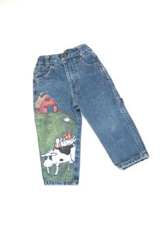 Toddler's painted farm animal jeans by ocolorworld on Etsy,