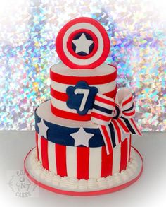 Girly Captain America - Cake by Cups-N-Cakes