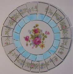 China Mosaic Tile Set 6 1/2 Arrangement Design Shabby Delicate Lacy Pink Blue Floral Stained Glass Tesserae Broken Plate Mosaic Art Supplies