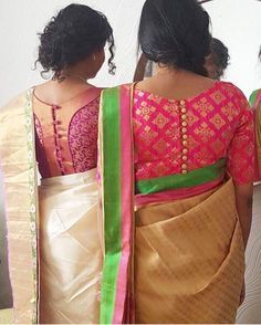 Looking for cotton saree blouse designs? Here are our picks of stylish patterns, chic front neck, & back neck designs you can try with cotton saree blouse! Blouse Back Neck Designs, Brocade Blouse Designs, Pattu Saree Blouse Designs, Simple Blouse Designs, Brocade Blouses, Stylish Blouse Design, Designer Blouse Patterns, Boat Neck Designs Blouses, Dress Patterns