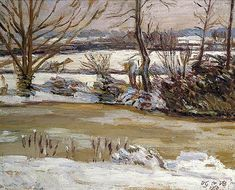 The Pond at Charleston, East Sussex, in Winter, Duncan Grant (1885–1978), Charleston