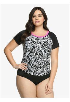 Plus Size Abstract Print Swim Top