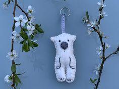 Excited to share this item from my #etsy shop: Polar bear keyring, felt polar bear, handmade key holder Protea Flower, Rainbow Decorations, Handmade Felt, Homemade Christmas, Flower Photos, Felt Flowers, Polar Bear, Hand Stitching, Christmas Ornaments