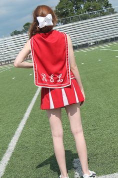 Vintage 1970's Red and White Cheerleading Uniform, Sailor, Pleated Skirt, School Spirit, Preppy, Womens Small. $40.00, via Etsy.