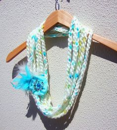 Hand Crochet White Lariat Scarf With Flower Infinity by Pasin, $28.00