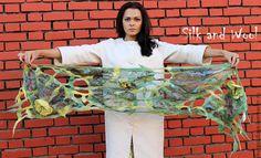 Купить ажурный палантин ЖЕЛТЫЕ ЦВЕТЫ - цветочный, Декор, шарф, шарф женский, войлочный шарф