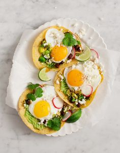 Brussels sprout tostadas with egg