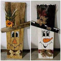 Reversible scarecrow snowman crafts with wood Fall Wood Crafts, Christmas Wood Crafts, Pallet Crafts, Wooden Crafts, Christmas Projects, Holiday Crafts, Christmas Crafts, Christmas Decorations, Diy Crafts