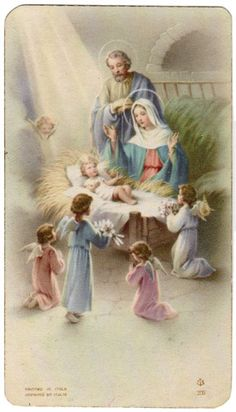 Vintage Holy Card Nativity Made In Italy