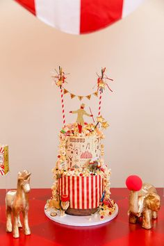 CIRCUS CAKE from a Greatest Showman Circus Birthday Party on Kara's Party Ideas | KarasPartyIdeas.com (29)