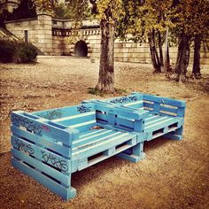Benches made out of pallets along Danube river