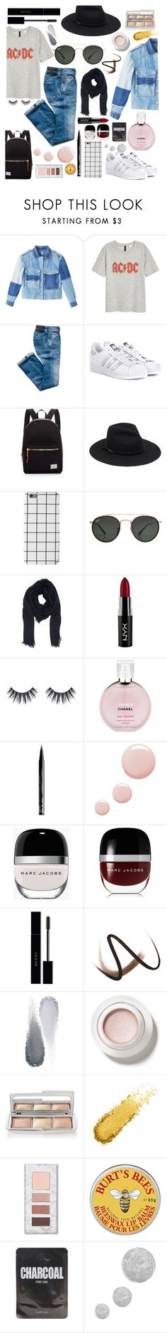 """""""My Girl"""" by simplymewithideas ❤ liked on Polyvore featuring Rebecca Taylor, H&M, adidas Originals, Herschel Supply Co., Ray-Ban, Faliero Sarti, NYX, Chanel, Topshop and Marc Jacobs"""