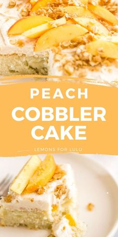 This Peach Cobbler Cake is made with fresh peaches and topped with the most perfect brown sugar frosting! This peach cake is a wonderful way to enjoy the season's best! Peach Cobbler Cake, Peach Cake, Brown Sugar Frosting, Poke Cakes, Everyday Food, Homemade Cakes, Cakes And More, Cheesecake Recipes, Yummy Snacks