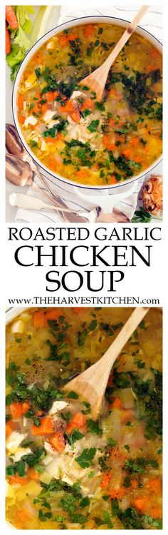 This Roasted Garlic Chicken Soup is a great soup to make when you're in dire need of something warm, soothing, and comforting for your soul. It's a perfect soup to sip on when you're feeling run down or under the weather. Chicken Soup Recipes, Healthy Soup Recipes, Cooking Recipes, Detox Recipes, Recipe Chicken, Drink Recipes, Garlic Recipes, Kitchen Recipes, Healthy Comfort Food