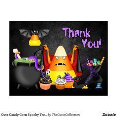 Cute Candy Corn Spooky Treats Halloween Thank You Postcard