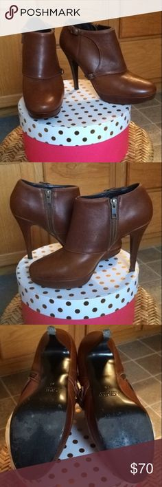 J. Crew Greer Platform Booties J. Crew Greer Platform Booties. Dark tan leather. Made in Italy. Zipper on the inner foot with two buckles on outer foot. There are light scuffs/scratches all over the shoes do to wear. Message me for better close up photos and any other questions. Some polish will probably fix that. Otherwise these are a gorgeous pair of shoes that are in really good condition. You can also search them up on the J. Crew site for more info. They retail for $358! Open to offers…