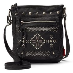 Unionbay Aztec Pyramid Studded Crossbody Bag (Black) ($42) ❤ liked on Polyvore featuring bags, handbags, shoulder bags, black, crossbody purse, zipper purse, black crossbody purse, black crossbody handbags and faux leather crossbody purse