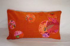 """Housse de coussin  patchwork de tissus  à la façon  japonaise """"Orange"""""""