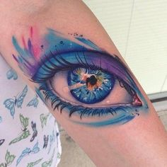 Watchful Watercolor by Mike Shultz #InkedMagazine I like the colors and style not really the eye itself.