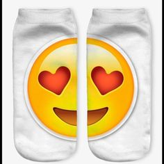 Ladies/Girls white LOVE emoji ankle socks A pair of cute white ankle socks with a fun print! Large yellow emoji with heart eyes split into left and right foot. For women or children, they are super comfy and will fit most. Check our photos for measurements. They are machine washable but best if you hand wash and hang to dry. We take orders so if you see something you like or we don't have what you want in stock, let us know and we will get them for you! Takes about 2 weeks to get them into…