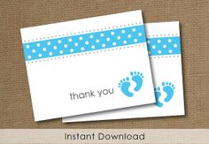 Printable Baby shower Thank You card Baby boy by meganraegraphics, $4.00