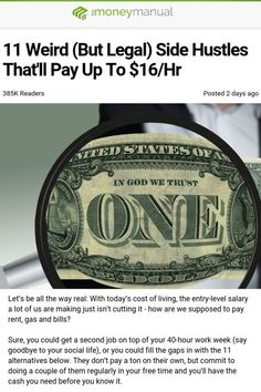 Personal Finance Discover These 11 side hustles are perfect for people looking to make some extra money Ways To Save Money, Money Tips, Money Saving Tips, How To Make Money, Work From Home Jobs, Make Money From Home, Spiritus, Useful Life Hacks, Extra Money