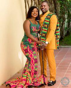 Cute Ghanian couple 💝💕😍😍💯 tag them . Kente Dress, Kente Styles, African Print Fashion, African Fashion Dresses, African Attire, African Dress, Mode Outfits, Fashion Outfits, Dress Wedding