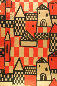 Textile Design - Medieval Russian Town, 1968 (tempera on paper)