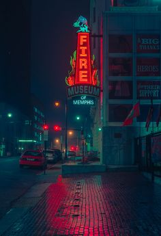Photo of the Memphis Fire Muesem sign and exterior in Downtown Memphis Tennessee. Night Aesthetic, City Aesthetic, Street Photography, Photography Camera, Underwater Photography, Abstract Photography, White Photography, Animal Photography, Family Photography