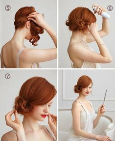 Alex Keating posted Coque Chignon Lateral Tutorial to his -hair tips- postboard via the Juxtapost bookmarklet. Up Hairstyles, Pretty Hairstyles, Wedding Hairstyles, Easy Hairstyle, Hairstyle Ideas, Short Hair Updo, Curly Hair Styles, 20s Hair, Brown Blonde Hair