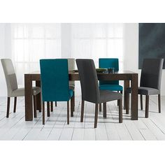 Debenhams Pair Of Teal Blue Parker Square Back Upholstered Dining Chairs With Dark Wood