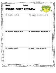 "If you have Reading Buddies in your classroom, this is a great little activity to help the students get to know each other! My students had a lot of fun finding out about their buddy's ""favorites."""