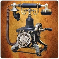The steampunk telephone is a fully functional die-cast home telephone that will add character to even the dullest looking living spaces. Equipped with modern day phone features, this steampunk telephone is a great gift for people who love steampunk or ant Steampunk Home Decor, Steampunk House, Steampunk Design, Steampunk Fashion, Steampunk Cafe, Steampunk Couture, Steampunk Clock, Steampunk Clothing, Radio Antigua