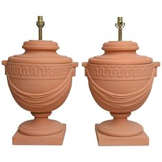 Pair of Large-Scaled Neoclassical Style Terra Cotta, Urn-Shaped Table Lamps 1