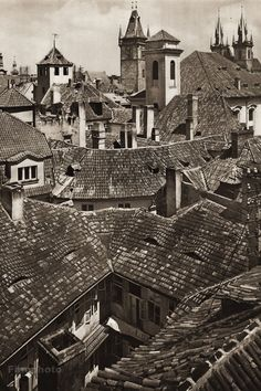 Karel Plicka shot fine monochrome photographs of Prague from the and documented a dark and mysterious Prague, a gothic and baroque Praha which. Roof Lines, Old Photographs, Famous Photographers, Prague, Old Town, Inktober, Monochrome, Louvre, Journey