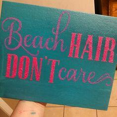 Beach Hair Dont Care Glitter Canvas