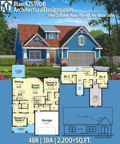 Architectural Designs Craftsman House Plan 42519DB. 4BR | 3BA | 2,200+SQ.FT. Ready when you are. Where do YOU want to build? #42519db #adhouseplans #architecturaldesigns #houseplan #architecture #newhome #newconstruction #newhouse #homedesign #dreamhome #dreamhouse #homeplan #architecture #architect