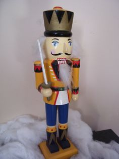 Christmas Decor Antique Germany Wooden Nutcracker Solider w/Sword