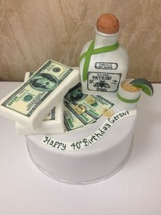 Tequila Cake! Patron bottle, tequila on the rocks, and money everywhere  Vanilla cake, lime curd filling, lime frosting